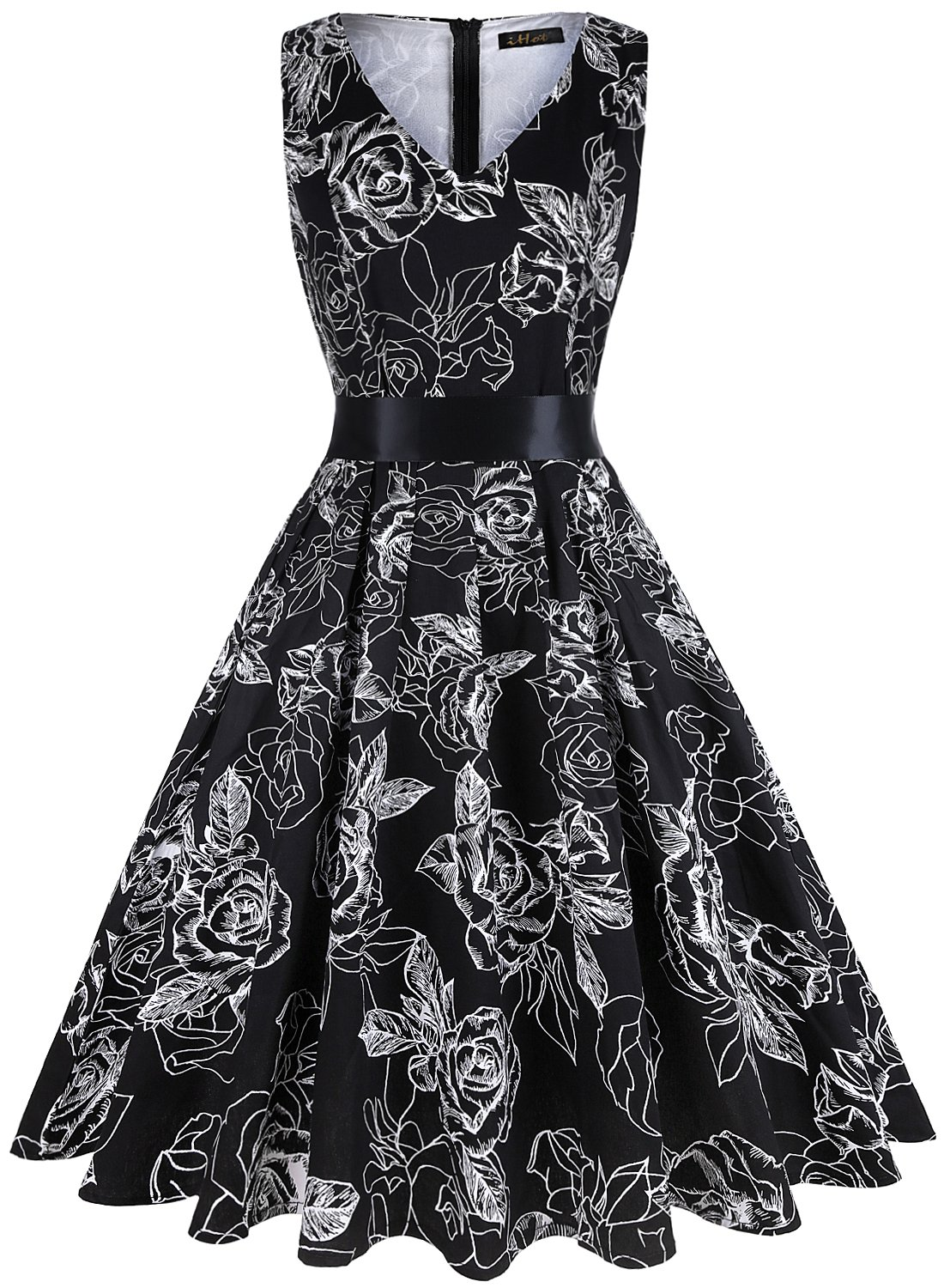 ihot Vintage Tea Dress 1950's Floral Spring Garden Retro Swing Prom Party Cocktail Dress for Women by ihot