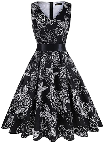 1eb7f1518598b IHOT Vintage Tea Dress 1950's Floral Spring Garden Retro Swing Prom Party  Cocktail Dress for Women