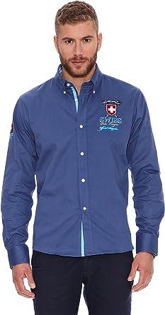 Valecuatro Camisa Hombre Parche Suiza Azul Medio XS: Amazon ...