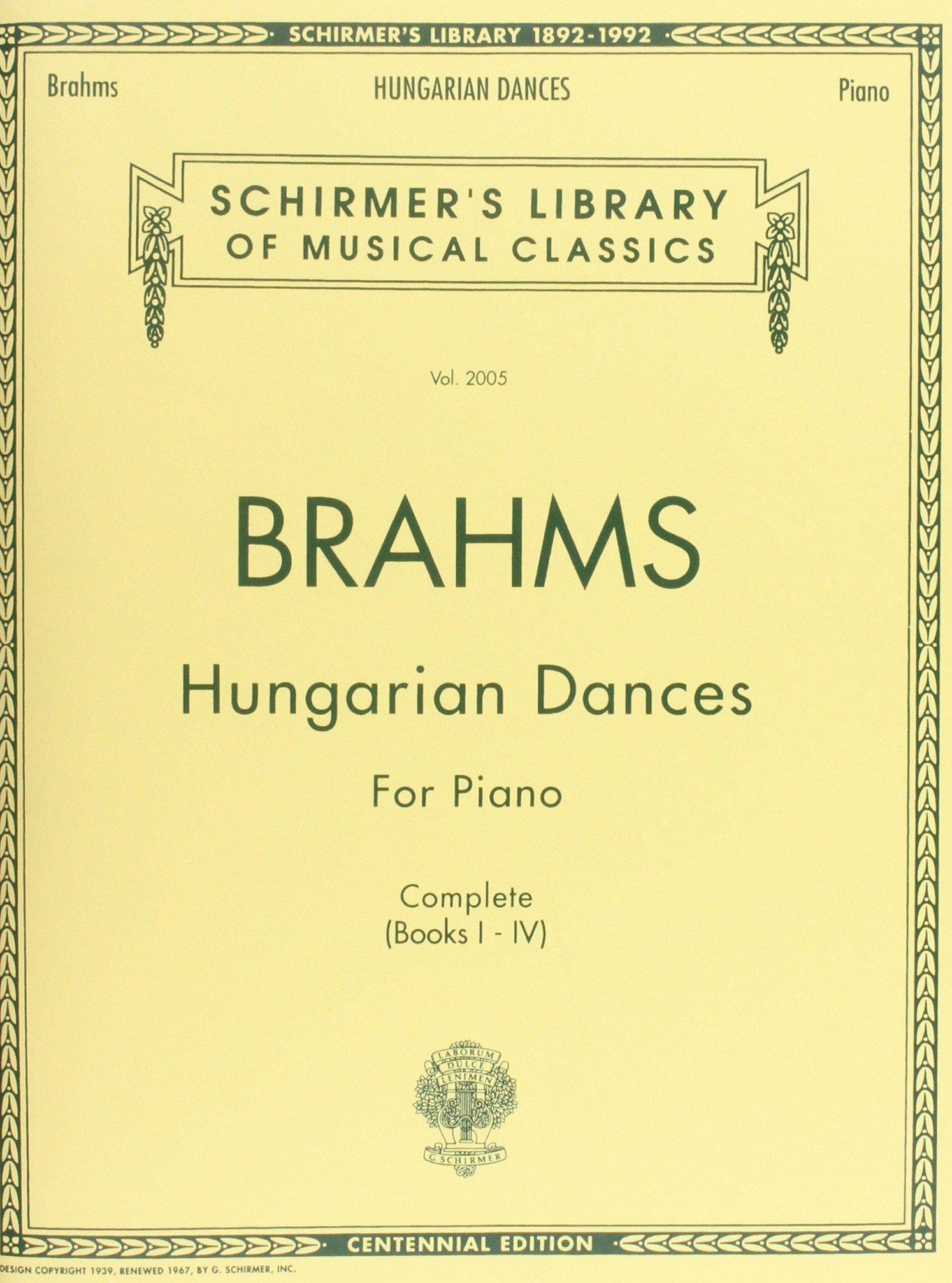Hungarian Dances: Schirmer Library of Classics Volume 2005 Piano Solo (Schirmer's  Library of Musical Classics): Johannes Brahms: 9780793541089: Amazon.com:  ...