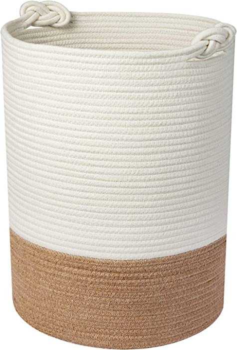"UBBCARE Large Cotton Rope Laundry Basket Woven Blanket Basket Baby Laundry Hamper Toy Storage Bin 18"" x 14"""