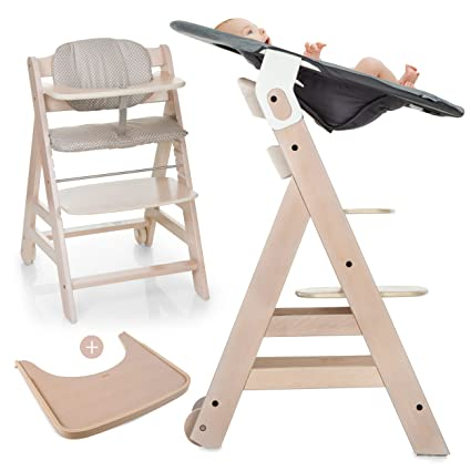 Hauck Beta Plus Newborn Set - Trona de madera evolutiva bebés, incluye hamaca para recién nacidos, cojín, bandeja, altura regulable - color ...