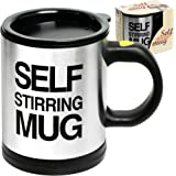 Self Stirring Coffee Mug Cup - Funny Electric Stainless Steel Automatic Self Mixing & Spinning Home Office Travel Mixer…