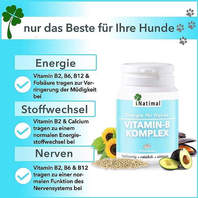 Importante complejo de vitamina B para perros. ENTREGA de todos los essentieller B de vitaminas Incluye B1, B2, B6, B12, Calcio y folsäure.