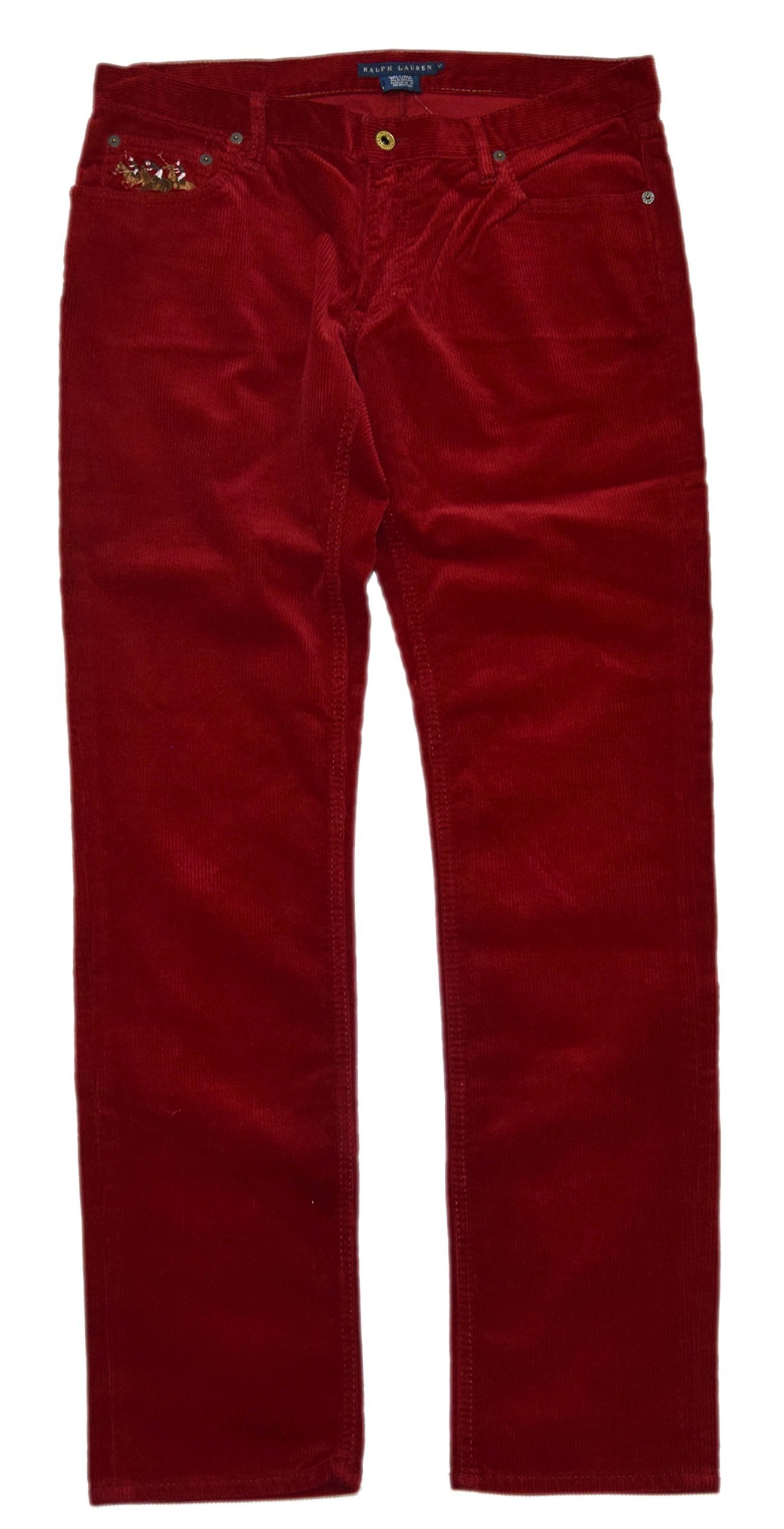 Ralph Lauren Women Big Pony Polo Match Skinny Slim Corduroy Jean Pants Red 12 10