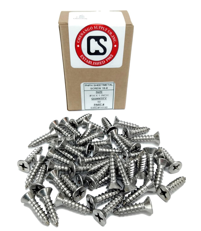 #14 X 1-1//2 Stainless Phillips Flat Head Sheetmetal Screw 82 Degrees 50 Sheet Metal Screws #14 X 1-1//2 3//4 to 3 in Listing