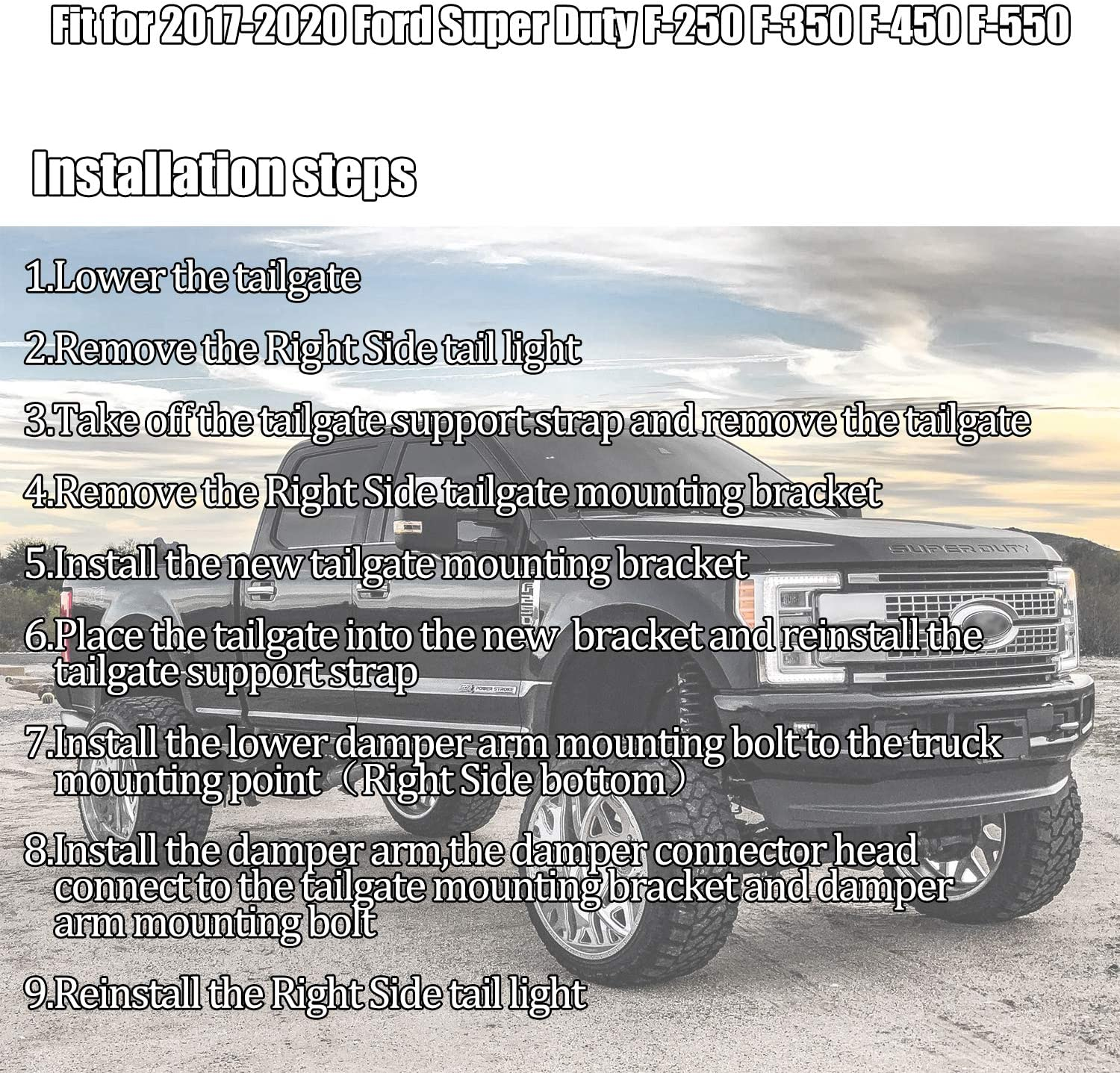 RANSOTO Tailgate Assist Tailgate Damper Kit Compatible with 2017-2020 Ford Super Duty F-250 F-350 F-450 F-550,Replace Part # HC3Z-99406A10-A