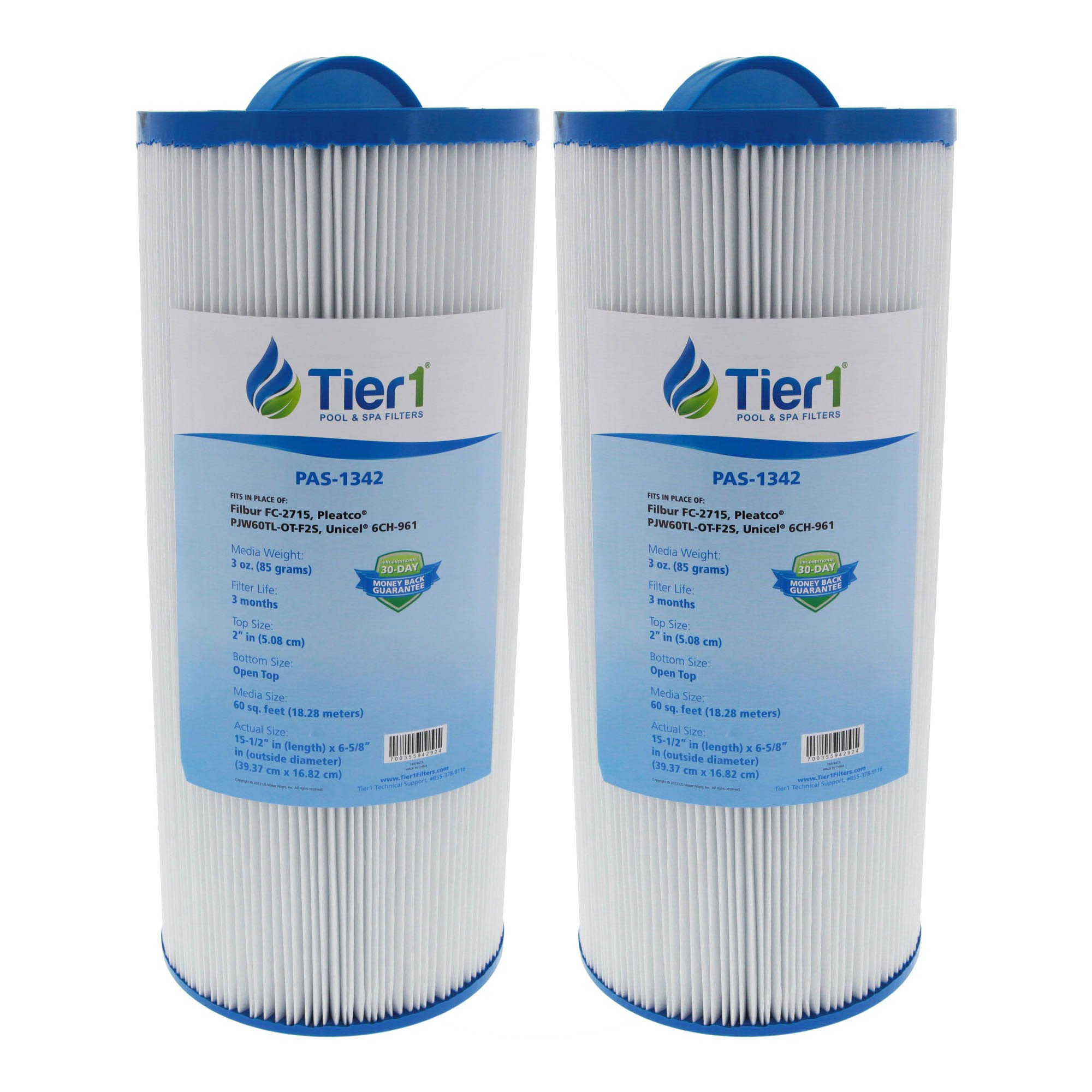 Tier1 Jacuzzi J300 6541-383, Pleatco PJW60TL-OT-F2S, Filbur FC-2715, Unicel 6CH-961 Comparable Replacement Spa Filter for J300 Series Jacuzzi's (2 Pack)