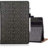 """WWW iPad Pro 11"""" 2018 Case,[Support Apple Pencil Charging][Luxury Laser Flower] Premium PU Leather Case with Auto Wake/Sleep and Multiple Viewing Angles for Apple iPad Pro 11"""" (2018 Release) Black"""