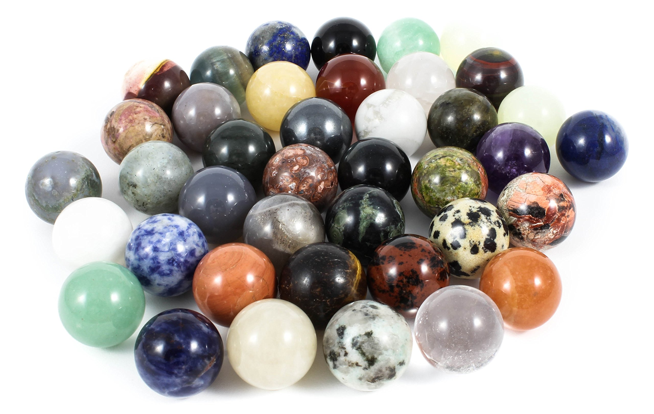 Genuine Mineral, Gemstone, Crystal Marbles Assortment, 18mm (40-Count)