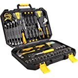 DEKO 128 Piece Socket Wrench Tool Set Auto Repair Mixed Tool Combination Package Hand Tool Kit with Plastic Toolbox Storage Case