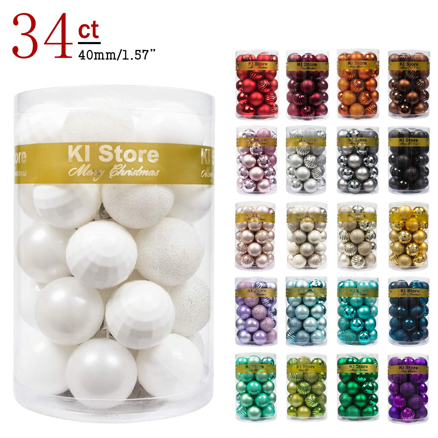 """KI Store 34ct Christmas Ball Ornaments Shatterproof Christmas Decorations Tree Balls Small for Holiday Wedding Party Decoration, Tree Ornaments Hooks Included 1.57"""" (40mm White)"""