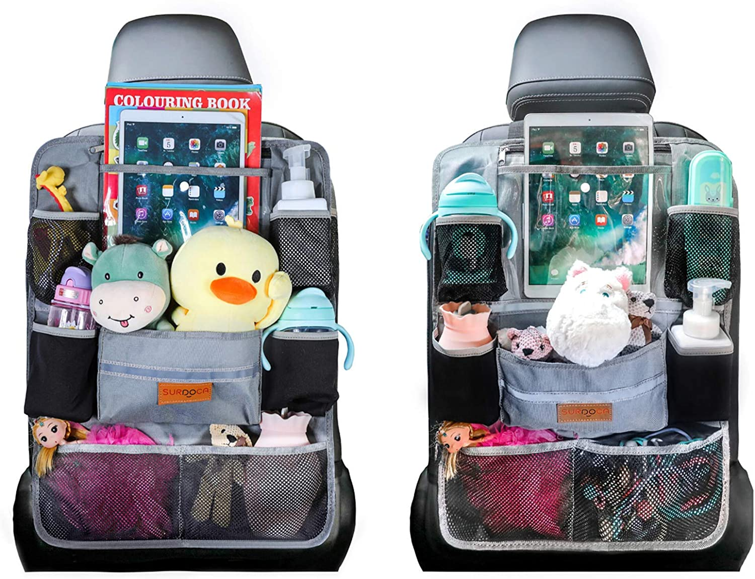 SURDOCA Car Organiser Car Seat Organiser 4th Generation Enhanced Car Organiser Back Seat for up to 10.5 iPad, 9 Pockets, Kids Toy Storage, Water Proof Back Seat Protector for Kids, Grey,2pcs
