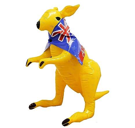 Hinchable canguro con AUSTRALIANA Bandera Cape 70cmA Vertical Inflable Broma AUSSIE Animal Niños Piscina Fiesta Disponible