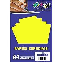 Papel A4 Neon Amarelo 180g. , Caixa com 20 Unidade, s, Off Paper, Multicor