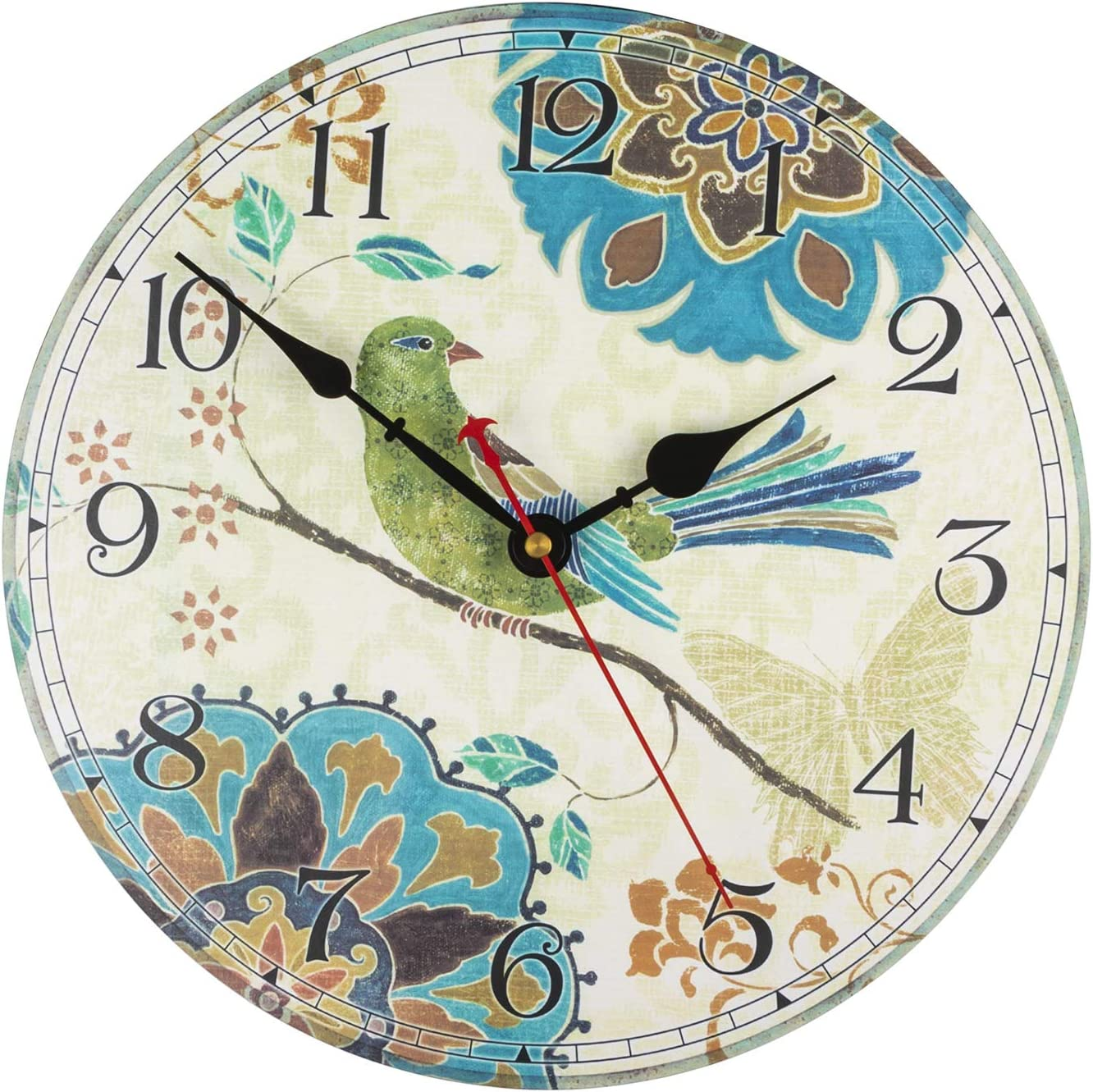 "Amazon.com: KI Store Silent Wall Clocks Non Ticking Decorative Clock for  Bedroom Living Room Kitchen Wood Cabin Farmhouse Round Wall Decor (12"",  Bird): Home & Kitchen"