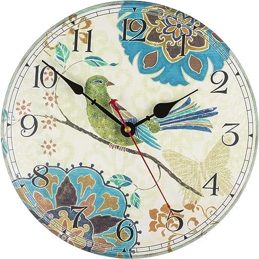 "KI Store Silent Wall Clocks Non Ticking Decorative Clock for Bedroom Living  Room Kitchen Wood Cabin Farmhouse Round Wall Decor (7"", Bird)"