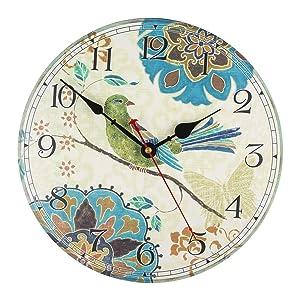 "KI Store Silent Wall Clocks Non Ticking Decorative Clock for Bedroom Living Room Kitchen Wood Cabin Farmhouse Round Wall Decor (12"", Bird)"