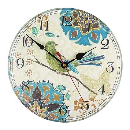 Ki Store Silent Wall Clocks Non Ticking Decorative Clock For Bedroom Living Room Kitchen Wood Cabin Farmhouse Round Wall Decor 12 Bird