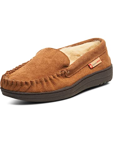 6f991421a alpine swiss Yukon Mens Genuine Suede Shearling Slip On Moccasin Slippers