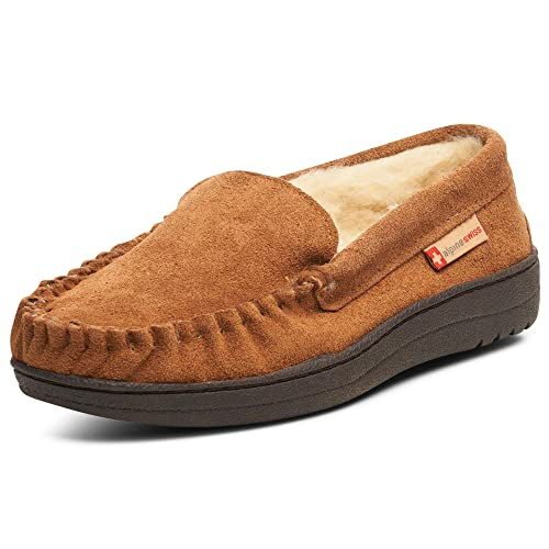 16020f3d1db alpine swiss Yukon Mens Genuine Suede Shearling Slip On Moccasin Slippers