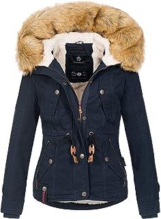Navahoo B392 Giacca invernale calda da donna, parka con cappuccio in pelliccia sintetica