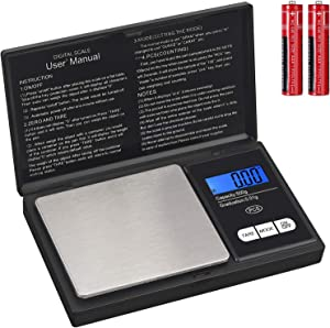 Kamtop Digital Weighing Scale 5 Inch 0.01g-500g Electronic Scale Mini Pocket Scale with Backlit LCD Display for Food Medicine and Jewelry