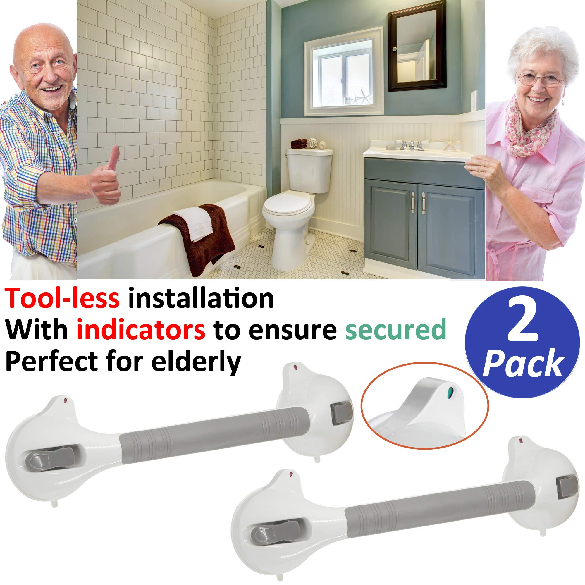AmeriLuck Bath and Shower Suction Grab/Grip Bar with Indicator Shower Handle for Bathroom - 16.5in Medical Assist Balance Hand Rail for Tub Safety - for Elderly/Senior/Handicap (16.5in, 2 Pack) by AmeriLuck (Image #1)