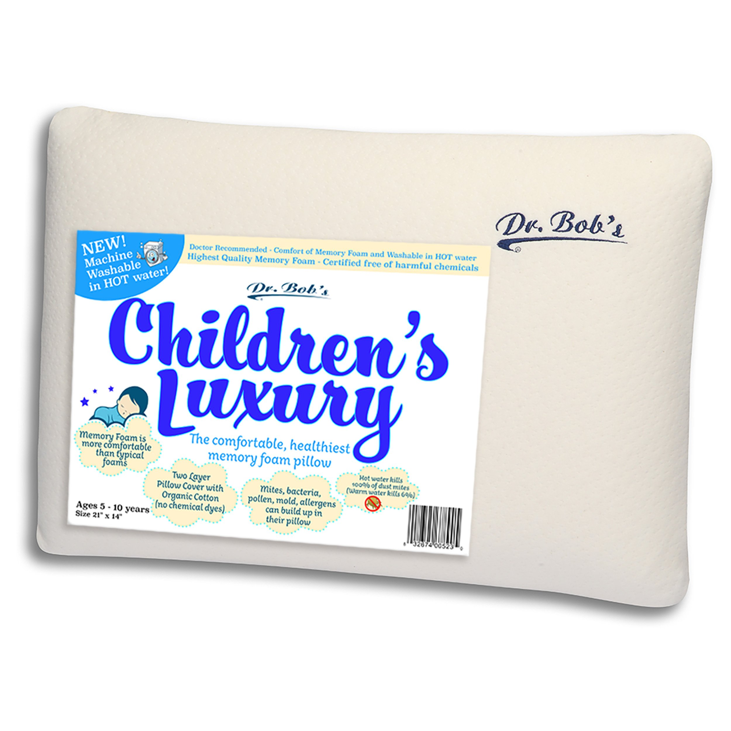 Children's Luxury - Kids Bed Pillow by Dr. Bob's- New - Memory Foam Machine Washable in HOT Water. Sanitize Your Pillows- Organic Cotton Cover- 2 Sizes -Also Toddler's Luxury Bed Pillow