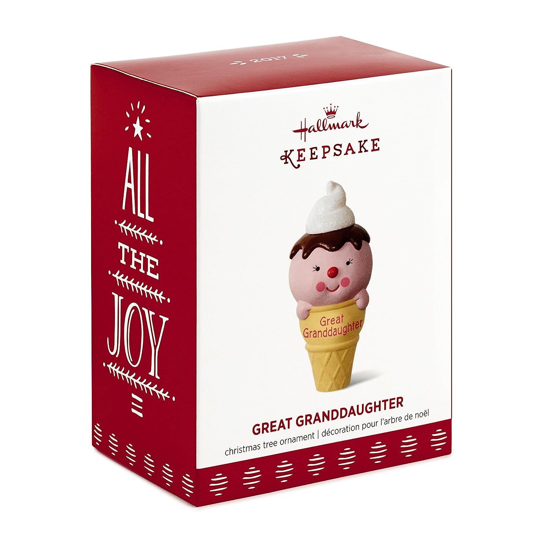 Hallmark Keepsake 2017 Ice Cream Cone Great Granddaughter Dated Christmas Ornament Hallmark Cards 1295QGO1175