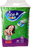 Fine Baby Diapers Green Fast Sorption, Junior 16+ Kgs, Mega Pack, 66 Count