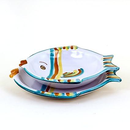 Piatti Ceramica Di Caltagirone.Set Piatti Pesce 2 Pz Posto Tavola Da Pesce In Ceramica Di