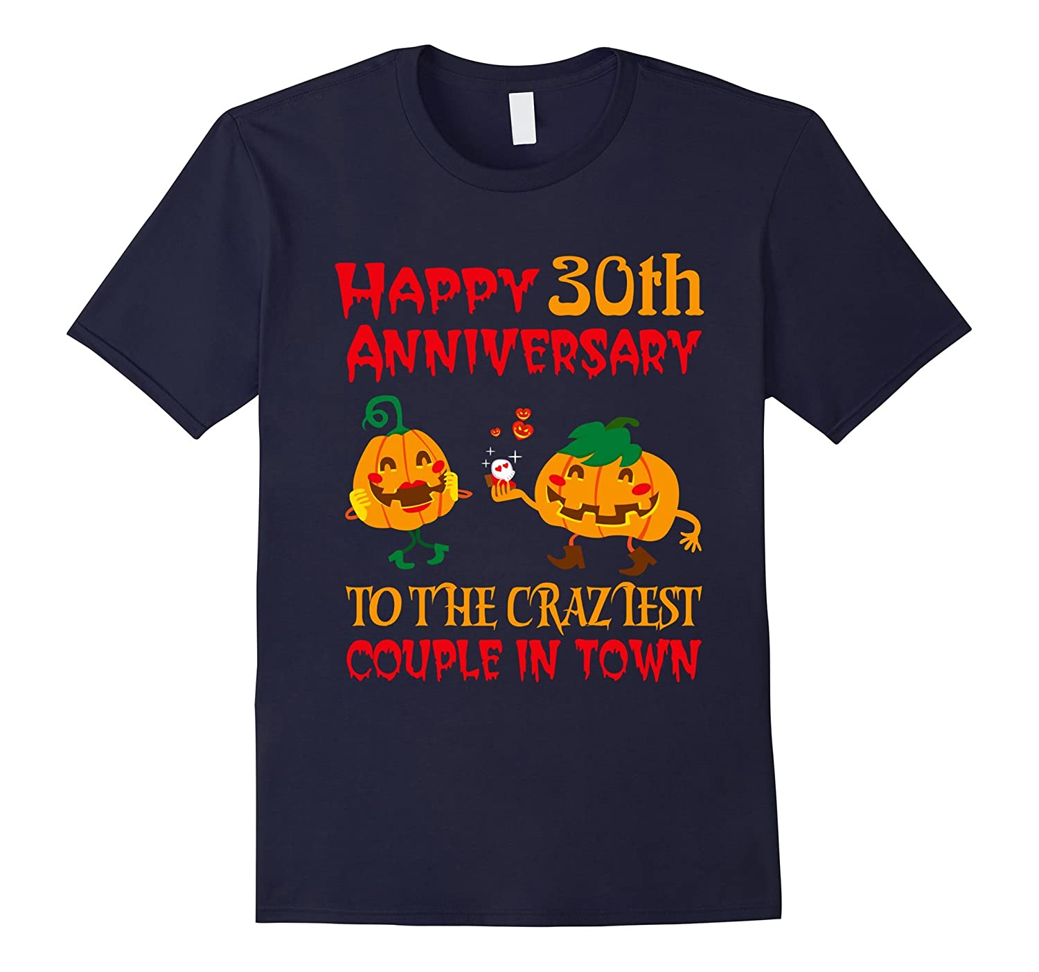 30th Wedding Anniversary T-Shirt For Couples On Halloween.-FL