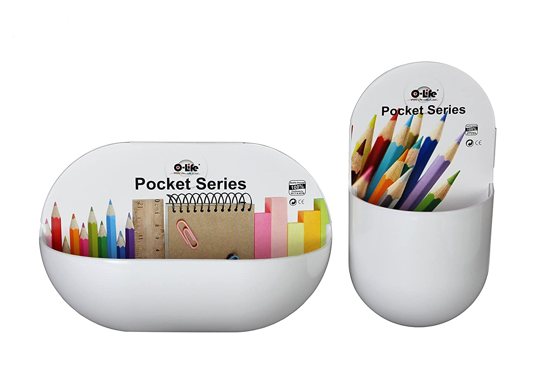 Organizer autoadesivo per montaggio a parete della serie Pocket - Confezione da 2 pezzi - Plastica - Bianco di O-Life Bins & Things