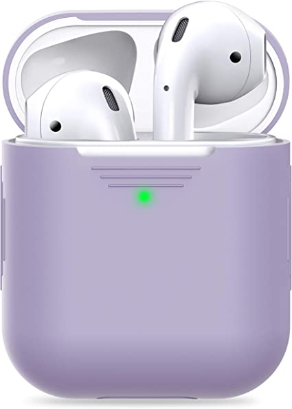 PodSkinz AirPods 2 & 1 Case [Front LED Visible] Protective Silicone Cover and Skin Compatible with Apple AirPods (Without Carabiner, Lavender)