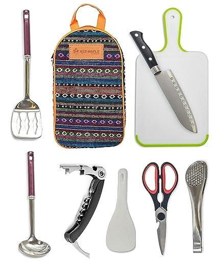 Amazon Com Camp Kitchen Utensil Organizer Travel Set Portable 8