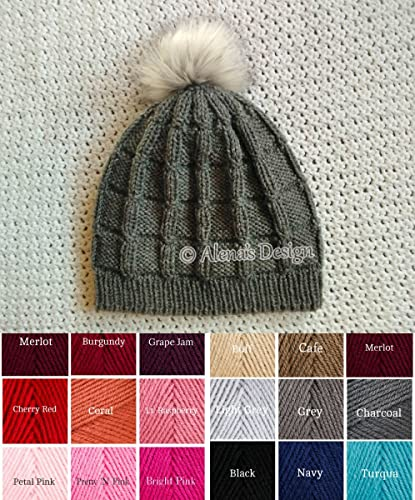 e6cdab7d817 Amazon.com  Knitted Beanie Hat Knit Slouchy Hat Ladies Men Unisex Hat Faux  Fur Pompom Grey Black Red Made in USA Free Shipping  Handmade