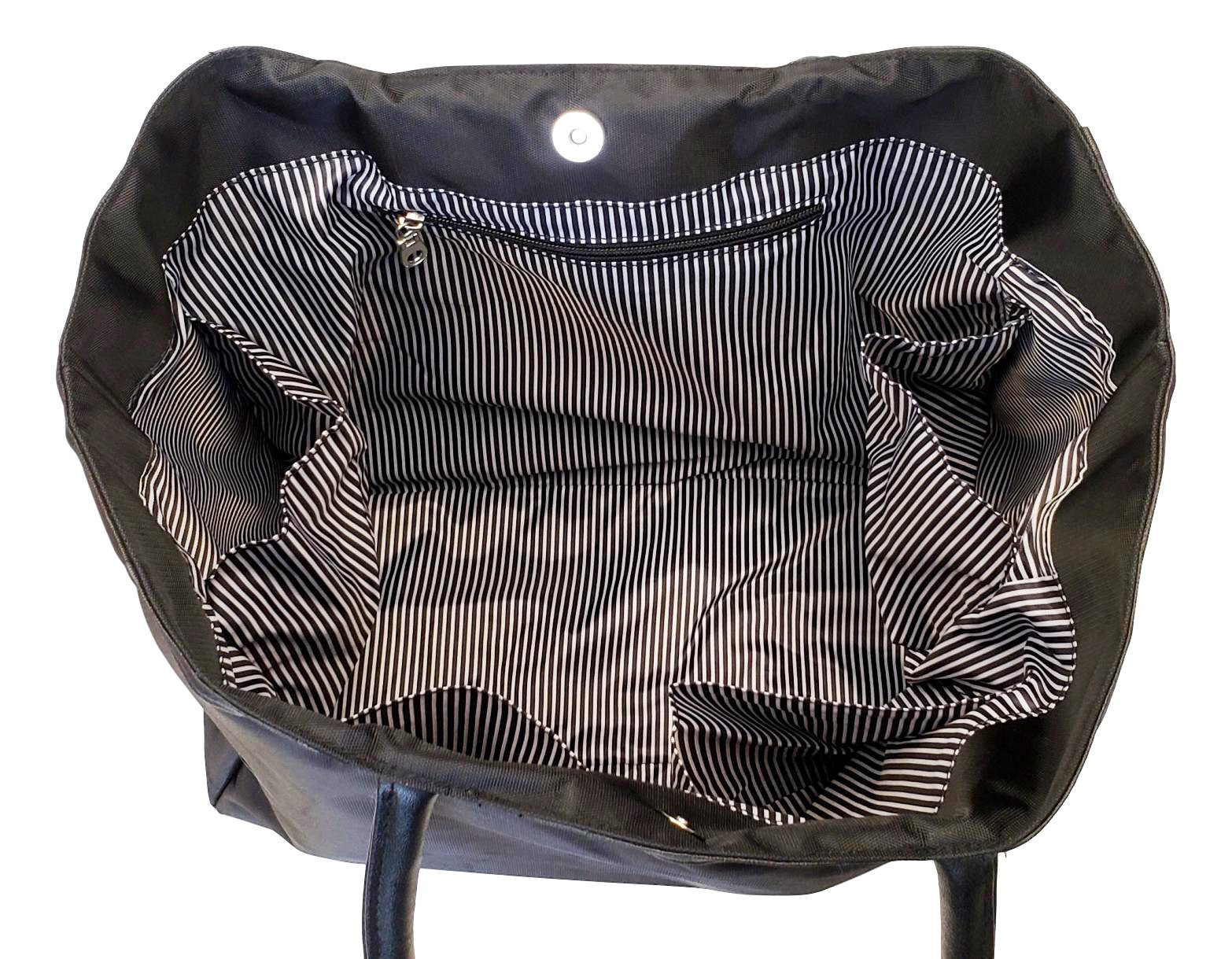 Large Black Organizing Travel Companion Purse Handbag Bag (No Embroidery - Black) by Sona G Designs (Image #4)