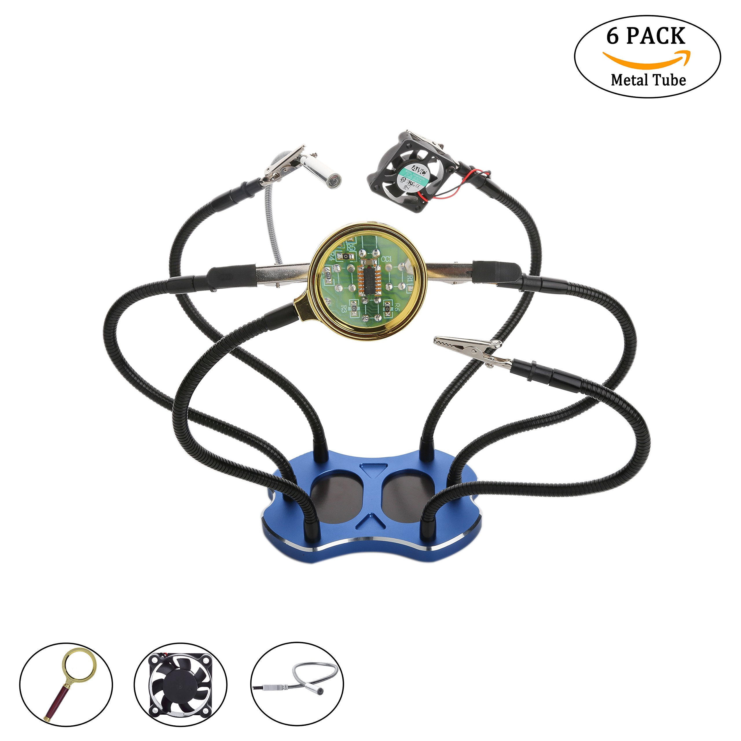 Helping Hand with Magnifying Glass Soldering Station Tool Third Hand for Soldering,Assembly,Repair,Modeling,Hobby and Craft Jewelry Making Tools and Accessories with 6 Arms,DC Fan,LED