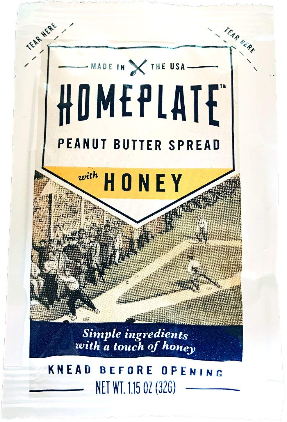 HomePlate Peanut Butter On-the-Go Squeeze Pack, Honey Flavored Creamy, All Natural, No Stir, Non-GMO, 1.15 oz. squeeze pack, 1 Unit