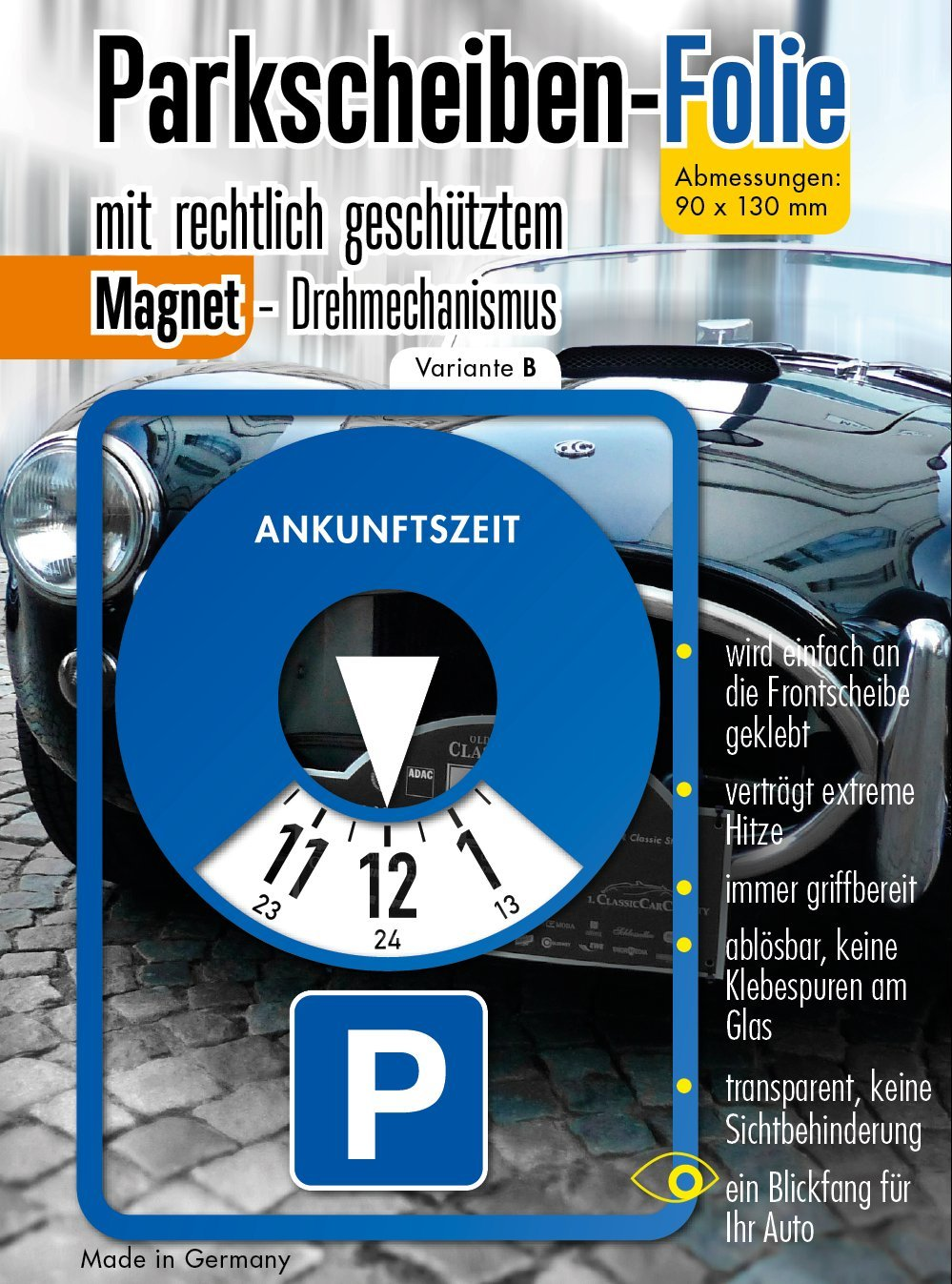 Andre Kulakowski Parkscheibe Aufkleber Variante B Folie Sticker Etikett selbstklebend. PS-B