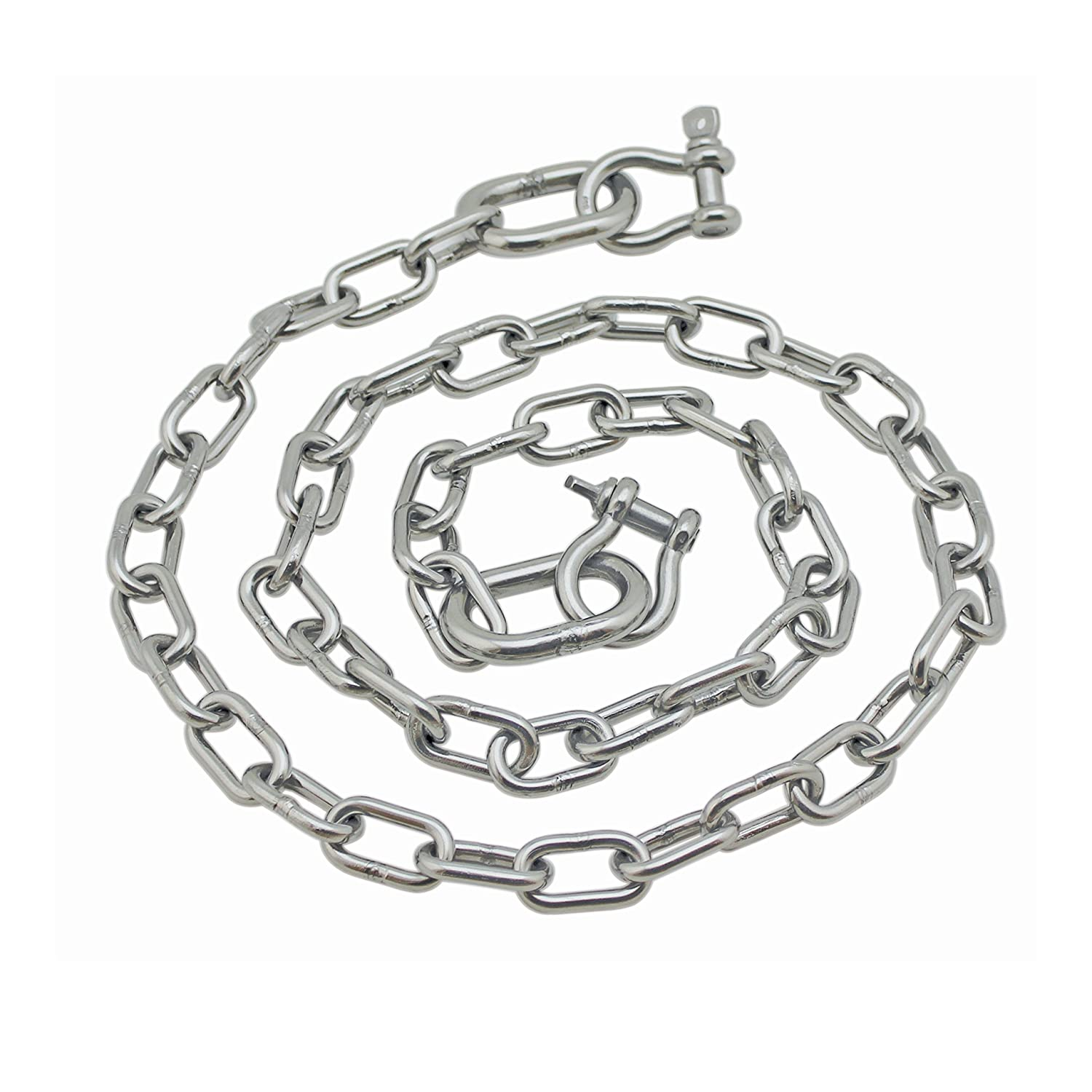 """Extreme Max 3006.6578 BoatTector Anchor Chain - 1/4"""" x 4' Stainless Steel with 5/16"""" Shackles"""
