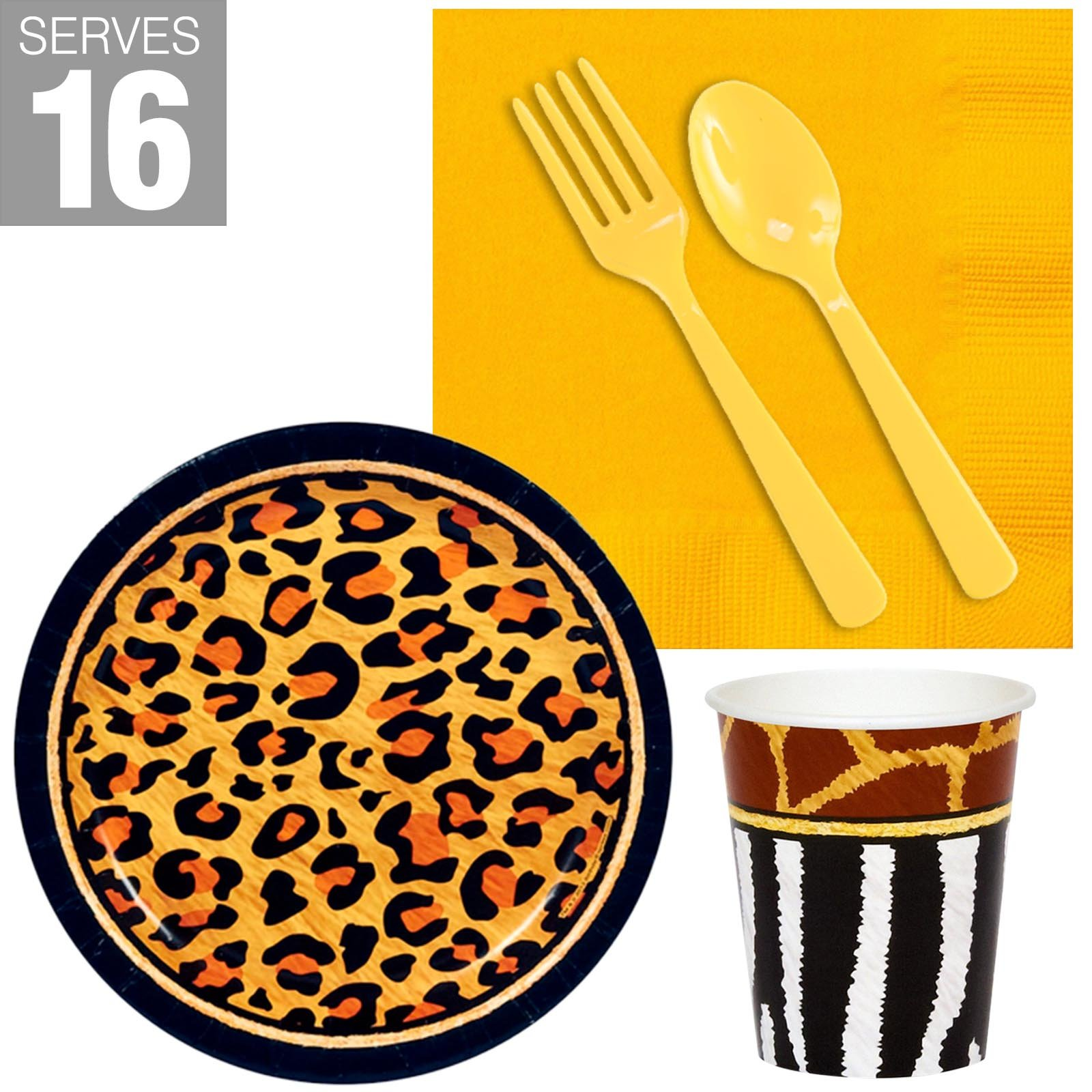 BirthdayExpress Safari Animal Adventure Party Supplies Snack Pack (for 16)