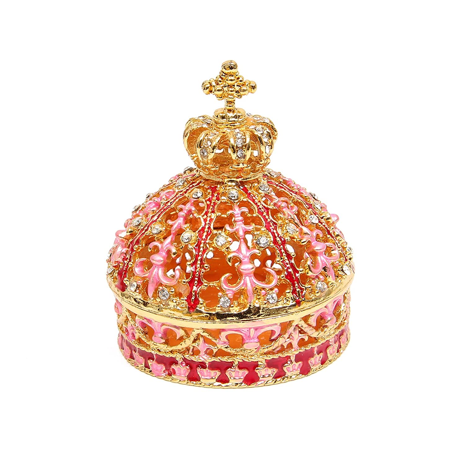 Enameled Crown Hinged Jewelry Trinket Box Unique Gift For Home Decor