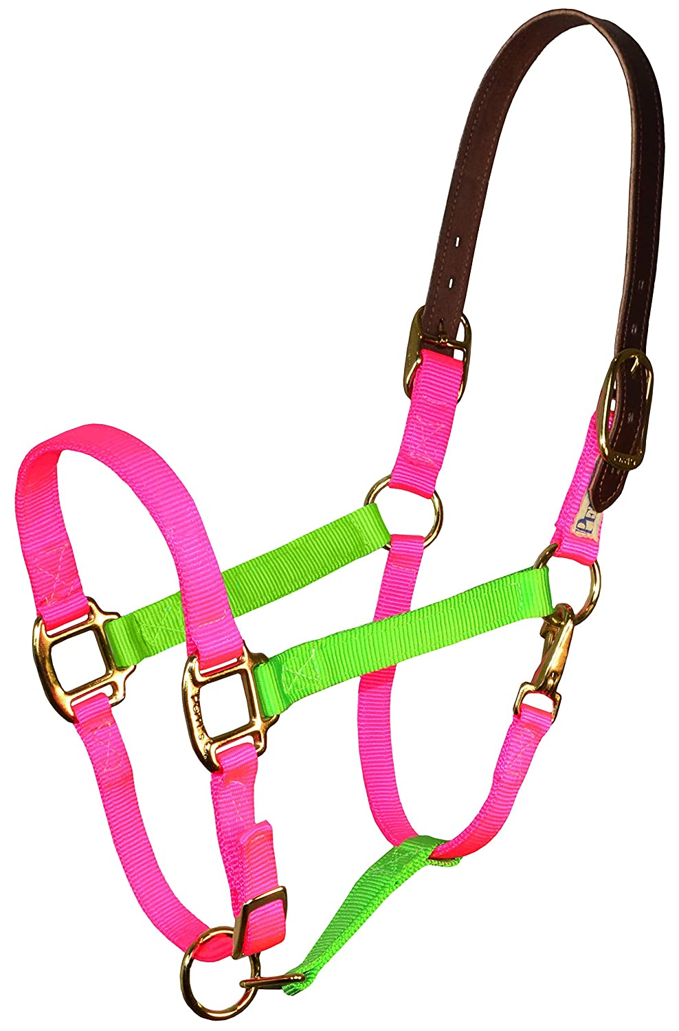 Perris Color Vision Halter Horse Lime Green//Hot Pink Nylon Safety Halter Perri/'s 153