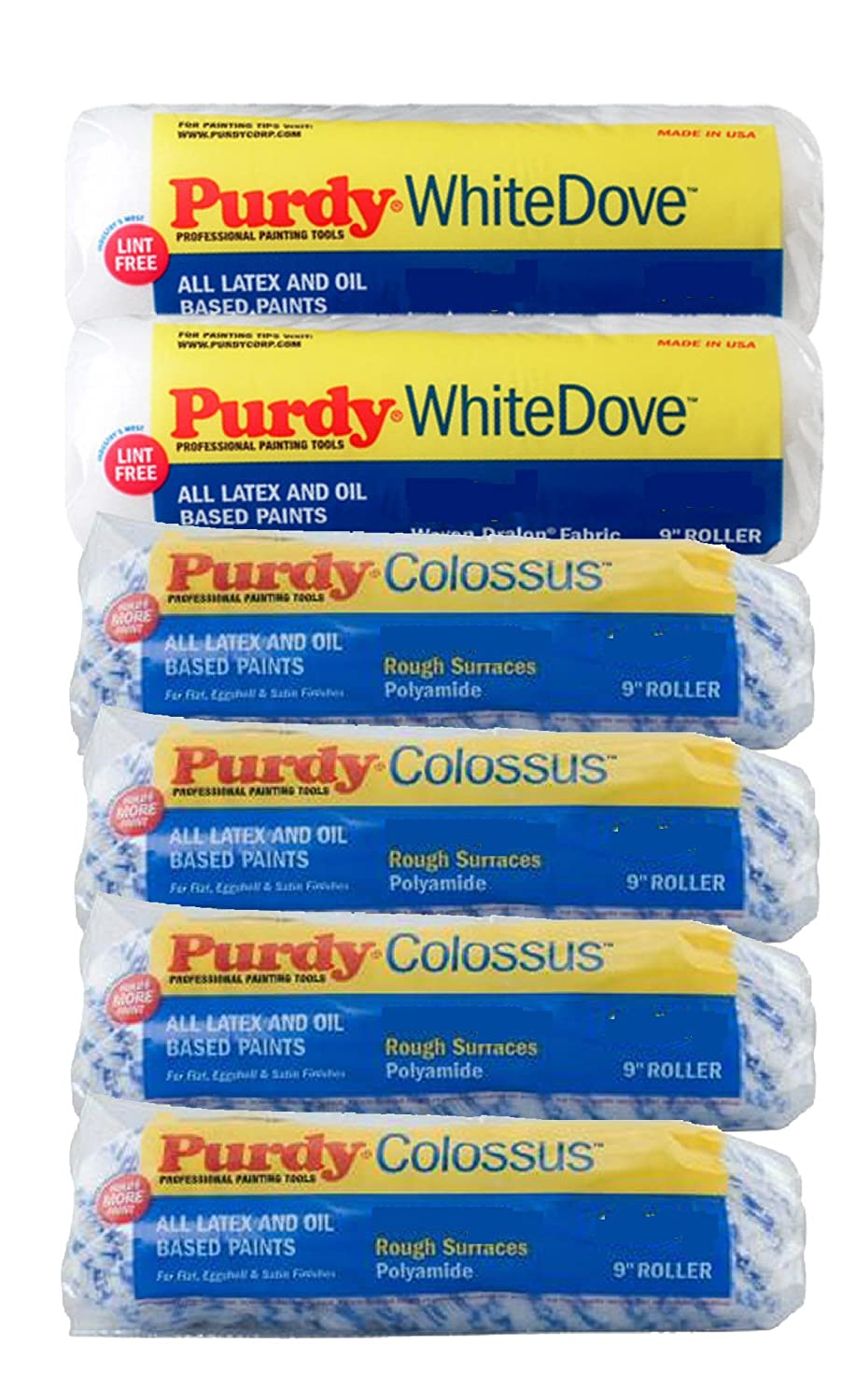 PURDY 9' Roller Sleeves 6-PACK - 4x Colossus & 2x White Dove ROLLER6PK