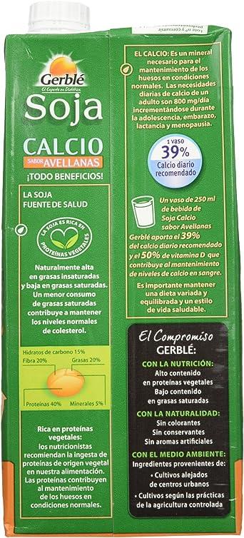 Gerblé Bebida de Soja Calcio con Sabor Avellanas - 1000 ml ...