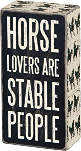 """Primitives by Kathy Horse-Print Trimmed Box Sign, 3"""" x 6"""", Stable People"""