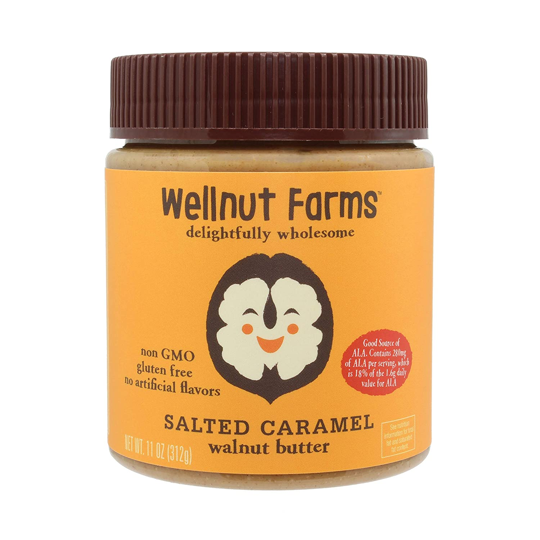 Wellnut Farms Creamy Walnut Butter, Salted Caramel, 11 Ounce, Gluten Free, Keto Friendly, Omega 3, Vegan