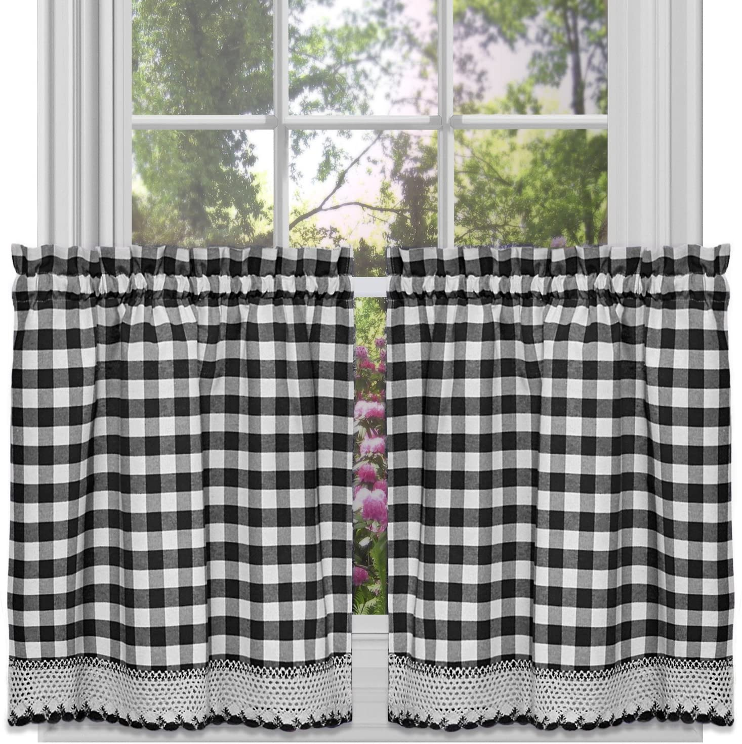 """Sweet Home Collection Kitchen Window Curtain Panel Treatment Decorative Buffalo Check Design, 24"""" Tier, Black/White"""